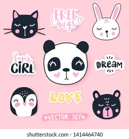 Vector set with cartoon animals - panda, penguin, cat, bear, bunny. Adorable animals and inscriptions. Bright stickers collection. Cute Patches, pins, badges.