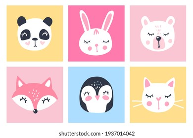 Vector set with cartoon animals - panda, bunny, teddy bear, cat, fox, penguin. Funny series animals. Adorable cute animals. Bright cards collection.