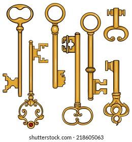 Vector Set of Cartoon Antique Keys. Type of Antique Keys.