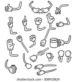 vector set of cartoon arm