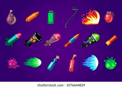 Vector set of cartoon assets for mobile game. Dangerous explosives. Missile bombs, dynamite, Molotov cocktail, cartridge, bullet