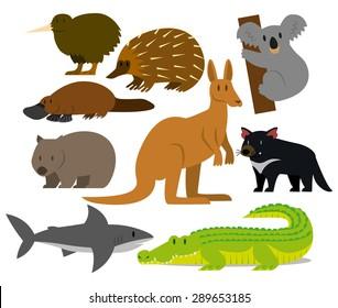 Vector Set Of Cartoon Australian Animals Isolated