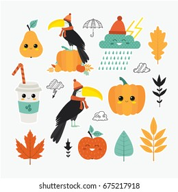 Vector set of Cartoon badges, cute  stickers. Patch or fashion pin badges. Autumn. Fall. Toucan, coffee, leaves.