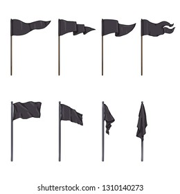 Vector Set of Cartoon Black Color Flags on Wooden and Steel Flagpoles