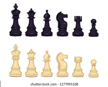 Vector Set of Cartoon Black and White Chess Pieces. Full Collection of Chess Figures.