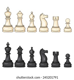 Vector Set of Cartoon Black and White Chess Figures - King, Queen, Bishop, Knight, Rook, Pawn.