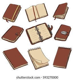 Vector Set of Cartoon Brown Leather Notebooks, Notepads and Diaries