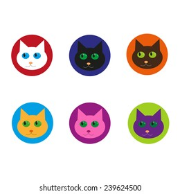 Vector set with cartoon cat icons. Colorful collection for avatars, labels and design.