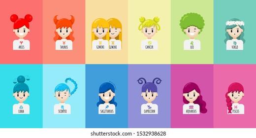 Vector set of cartoon character zodiac girls. Zodiac signs collection, Aries, Taurus, Gemini, Cancer, Leo, Virgo, Libra, Scorpio, Sagittarius, Capricorn, Aquarius, Pisces. Horoscope illustration