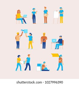 Vector set of cartoon characters in flat line style - men and women in different situations in office at work - design elements for infographics and banners - cooperation, teamwork and development