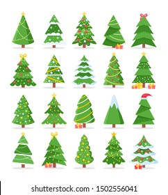 Vector set of cartoon Christmas trees, pines for greeting card, invitation,banner, web. New Years and xmas traditional symbol tree with garlands, light bulb, star. Winter holiday. Icons collection.