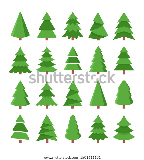 Vector set of cartoon Christmas trees, pines for greeting card, invitation, gift box, banner, web. New Years and xmas traditional symbol tree. 2020 winter holiday.  Flat icons collection