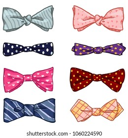 Vector Set of Cartoon Classic Bowties. Different Types and Color Collection