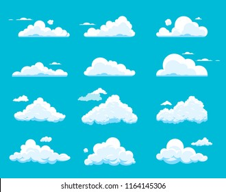 Vector set of cartoon clouds isolated on blue background. Collection of different shapes cloud icons in flat style. Cloudscape illustration. Symbol for label, logo, web site, poster, wallpaper, print.
