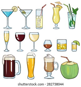 Vector Set of Cartoon Cocktails and Alcohol Drinks. Martini, Lemonade, Pinot Colada, Mojito, Champagne, Red Wine, White Wine, Cognac, Brandy, Whiskey, Tequila,  Beer, Irish Coffee, Coconut.