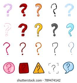 Vector Set of Cartoon Color Question Marks