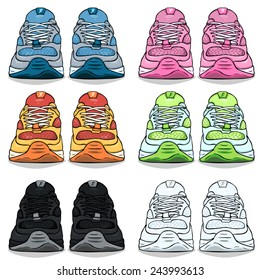 Vector Set of Cartoon Color Running Shoes. Front View.