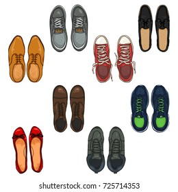 Vector Set of Cartoon Color Shoes Items. Top View Collection