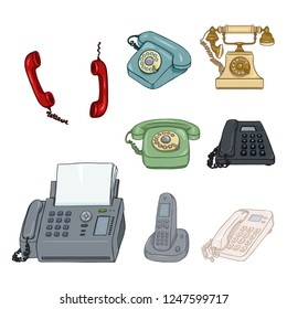 Vector Set of Cartoon Color Telephones and Handsets. Collection of Phones.