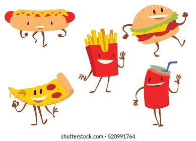 Vector set of cartoon colored images of funny snacks: a hot dog, a hamburger, a pizza slice, a can of fizzy drink and a box with french fries, standing and smiling on a white background. Snack, lunch.