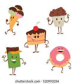 Vector set of cartoon colored images of funny sweets: ice cream cone, a cupcake, a chocolate bar, a donut and a piece of cake, standing and smiling on a white background. Sweets. Vector illustration.