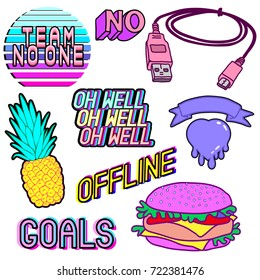"Vector set of cartoon colorful aesthetic phrases, words: ""team no one"", ""goals"", ""offline"", ""no"", pineapple, heart, hamburger, phone charger, etc. Patch badges, pins, stickers in vaporwave style."