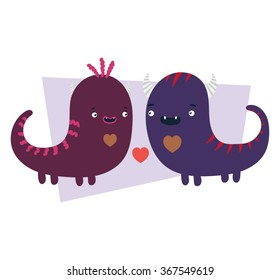Vector set of cartoon cute character Monsters. Monster emotions of falling in love / Halloween monster set/ valentine day love beautiful