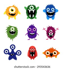 Vector set of cartoon cute monsters and aliens. Custom shapes, bodies, faces, smiles, teeth and eyes. EPS 8 vector cute halloween monsters for your design and business.