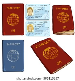 Vector Set of Cartoon Documents. Red and Blue Passports and Drivers ID.