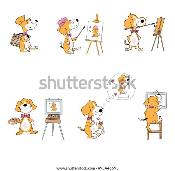 Vector Set Cartoon Dogs Painting Materials Stock Vector