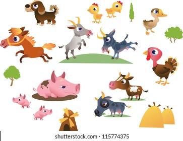 Vector set of cartoon farm animals