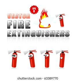 Vector set of cartoon fire extinguishers