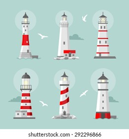 Vector set of cartoon flat lighthouses. Searchlight towers for maritime navigational guidance