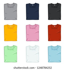 Vector Set of Cartoon Folded T-Shirts. Different Color Variations.