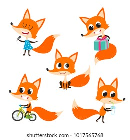 Vector set of cartoon funny fox isolated on white background. Cute, funny animal, fox character doing various actions used for magazine, book, poster, card, web pages.