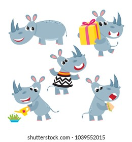 Vector set of cartoon funny rhinoceros isolated on white background. Cute, funny rhino, animal character doing various actions used for magazine, book, poster, card, children invitation, web pages.