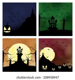 Vector Set Of Cartoon Halloween Background Editable