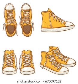 Vector Set of Cartoon High Yellow Gumshoes. Side, Top and Front Views.