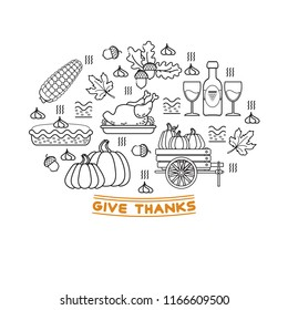 Vector set of  cartoon icons for Thanksgiving day. Collection traditional Fall and Thanksgiving elements. Linear icons isolated on white.