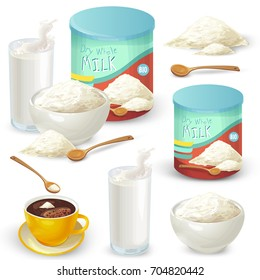 Vector set of cartoon illustration of milk powder in a closed aluminum can and poured into a bowl, a glass of prepared instant milk and the addition of milk powder into a cup of tea, coffee.