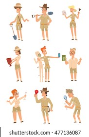 Vector set of cartoon images of archaeologists men and women of different ages in different poses with different attributes in the hands on a white background. Vector illustration of archaeologists.