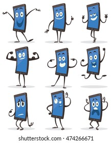Vector set of cartoon images of black smartphones with blue screens with arms and legs with a variety of emotions and actions on a white background. Positive character. Vector illustration.