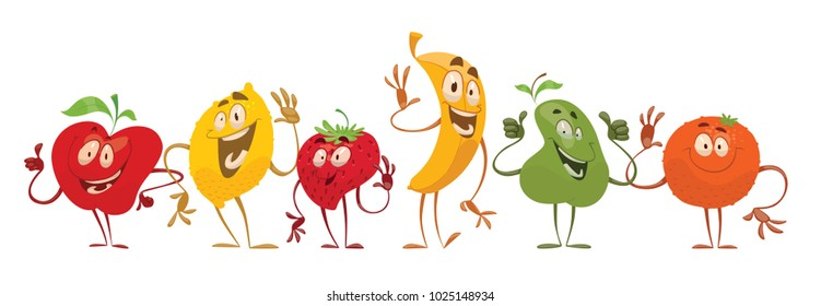 Vector set of cartoon images of different funny fruits: apple, lemon, strawberry, banana, pear and orange standing, waving their hands and smiling on a white background. Emotions, emoji, character.