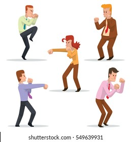 Vector set of cartoon images of different businessmen and business woman in different clothes, fighting on a white background. Business fight. Office warrior. Vector illustration.