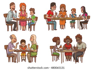Vector set of cartoon images of family dinners, various members of different families sitting at the tables and eating some food on a white background. Family idyll. Card. Vector illustration.