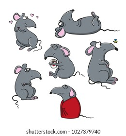 Vector set of cartoon images of funny gray rats with various emotions