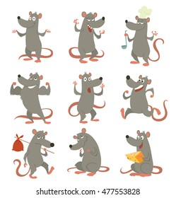 Vector set of cartoon images of funny gray rats with a long pink tails, with various emotions and actions on a white background. Positive character. Vector illustration of rats.