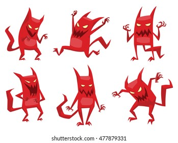 Vector set of cartoon images of funny red devils with horns and tails, with various emotions and actions on a white background. Vector cartoon illustration of devil.