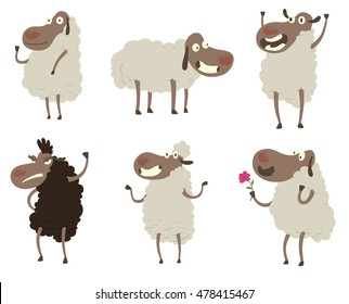 Vector set of cartoon images of funny six white and black sheep: waving her hoof, standing on four hooves, rejoicing, angry, standing on her hind hooves and with a pink flower on a white background.