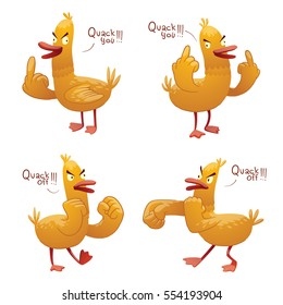 "Vector set of cartoon images of funny yellow rude ducks with red beak and paws, standing and saying ""Quack You"" and ""Quack Off"" on a white background. Vector illustration."